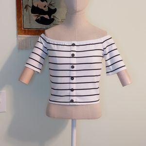 Express white and black striped top - TH026